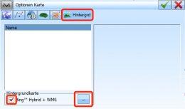 WMS-Dienste anzeigen: Menu Kartenansicht > Optionen > Hintergrund